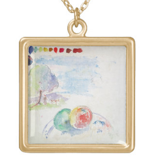 Study of Fruits and a Landscape, 1892 (w/c on pape Personalized Necklace