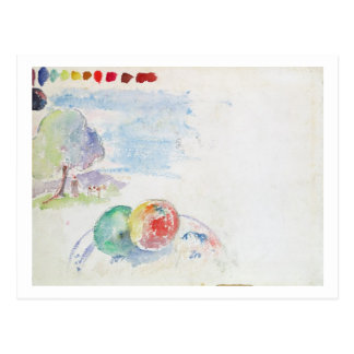 Study of Fruits and a Landscape, 1892 (w/c on pape Postcard