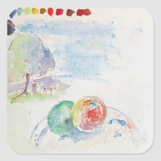 Study of Fruits and a Landscape, 1892 (w/c on pape Square Sticker