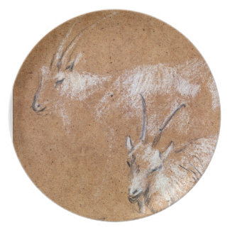 Study of Goats drawing Party Plate