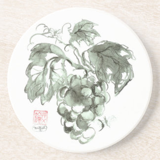 Study of grapes, Sumi-e ink painting Sandstone Coaster