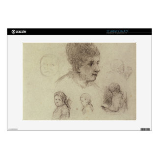 "Study of Heads, 1884 (black chalk on paper) 15"" Laptop Decals"