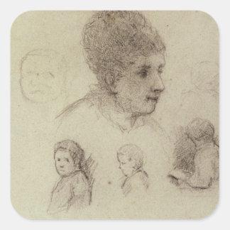 Study of Heads, 1884 (black chalk on paper) Square Sticker