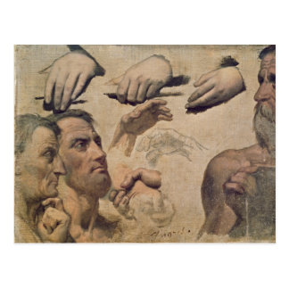 Study of Heads and Hands Postcard