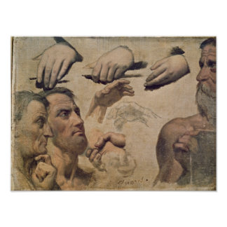 Study of Heads and Hands Poster