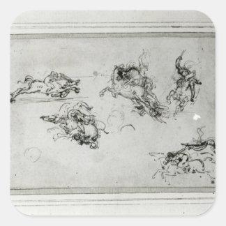 Study of Horsemen in Combat, 1503-4 Square Sticker