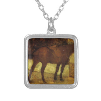 Study of Horses by Edgar Degas Silver Plated Necklace