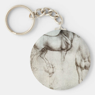 Study of horses - Leonardo da Vinci Basic Round Button Keychain