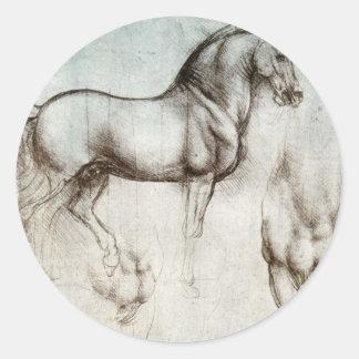 Study of horses - Leonardo da Vinci Classic Round Sticker