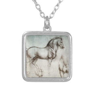 Study of Horses Square Pendant Necklace