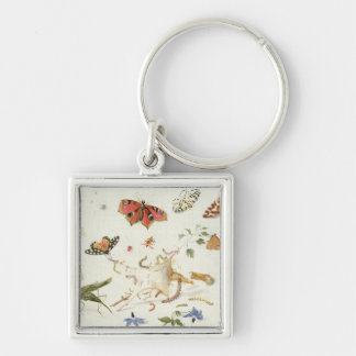 Study of Insects and Flowers Silver-Colored Square Keychain