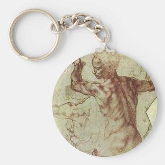 Study of Libyan Sibyl by Michelangelo Basic Round Button Keychain
