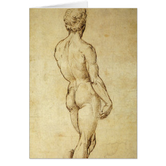 Study of Michelangelo's David Statue by Raphael Card