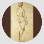 Study of Michelangelo's David Statue by Raphael Classic Round Sticker