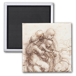 Study of St Anna, St John, Mary, Christ Child 2 Inch Square Magnet