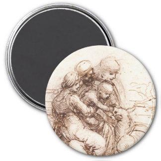 Study of St Anna, St John, Mary, Christ Child 3 Inch Round Magnet