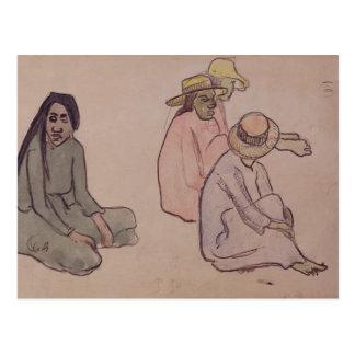 Study of Tahitians (w/c, ink & pencil on paper) Postcard