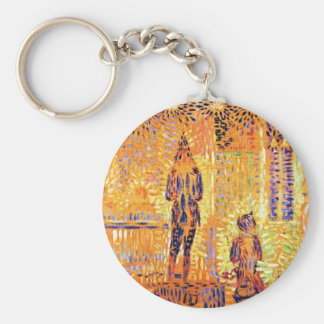 Study of the circus parade by Georges Seurat Keychain