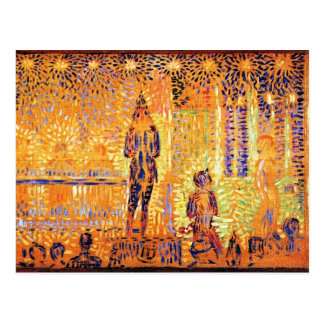 Study of the circus parade by Georges Seurat Postcard