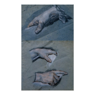 Study of the Hands of a Man Poster
