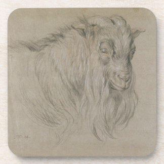 Study of the Head of a Ram (black, sanguine & whit Beverage Coaster