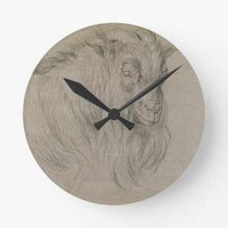 Study of the Head of a Ram (black, sanguine & whit Round Clock