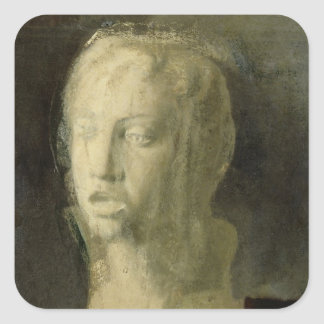 Study of the Head of a Young Singer Square Stickers