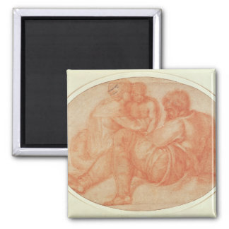 Study of the Holy Family 2 Inch Square Magnet
