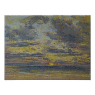 Study of the Sky with Setting Sun, c.1862-70 Poster
