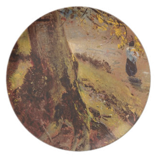 Study of tree trunks party plate