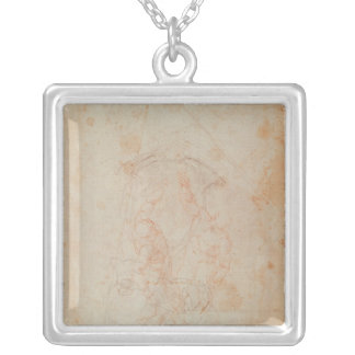 Study of two male figures square pendant necklace