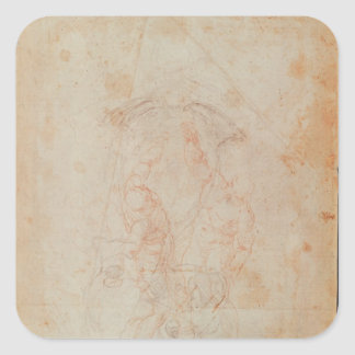 Study of two male figures square sticker