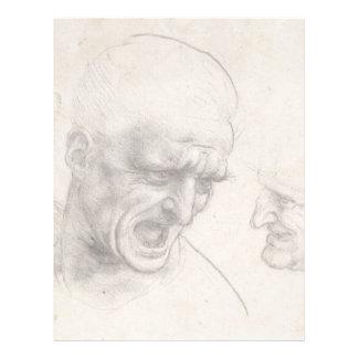 Study of Two Warriors Heads by Leonardo da Vinci Letterhead