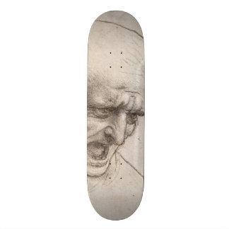 Study of Two Warriors Heads by Leonardo da Vinci Skateboard