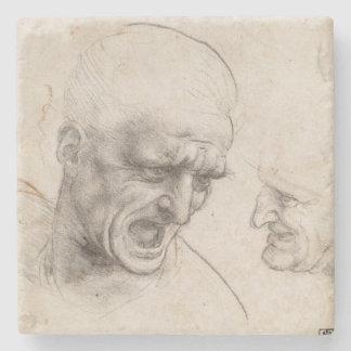 Study of Two Warriors Heads by Leonardo da Vinci Stone Coaster