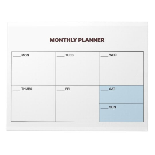 study planner monthly planner notepad zazzle com