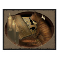 Studying Cat Lessons Print print