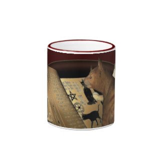 Studying Cat Lessons Ringer Coffee Mug