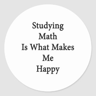 Studying Math Is What Makes Me Happy Classic Round Sticker