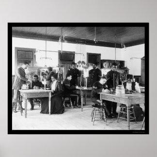 Studying Physics Hampton Institute VA 1899 Print
