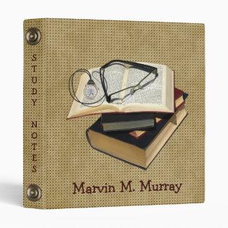 StudyNotes Books PocketWatch EyeglassesAveryBinder 3 Ring Binder
