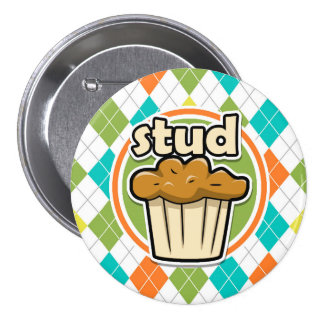 Stuf Muffin; Colorful Argyle Pattern Pinback Buttons