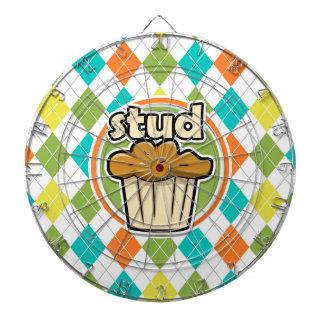 Stuf Muffin; Colorful Argyle Pattern Dartboard With Darts