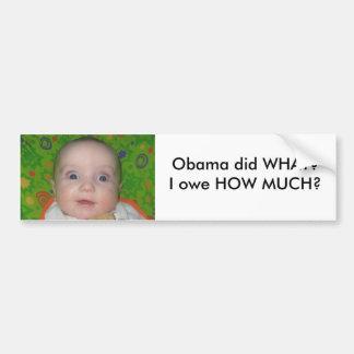 stuff 014 - Copy, Obama did WHAT?I owe HOW MUCH? Car Bumper Sticker