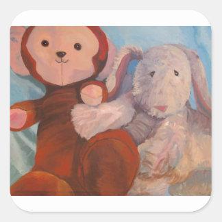 Stuff doll painting Mon and Amiga Square Sticker