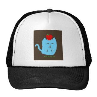 stuff on my cat - apple on head trucker hat