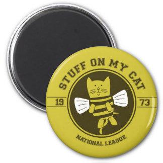stuff on my cat - bee 2 inch round magnet