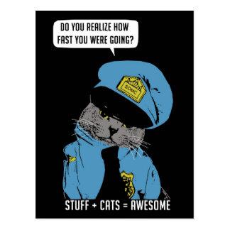 Stuff on my cat - Cop Postcards