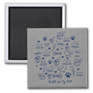 stuff on my cat - doodle 2 inch square magnet