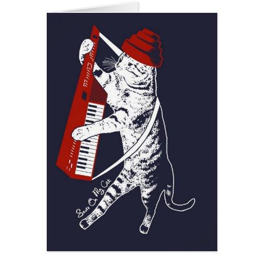 stuff on my cat - keytar greeting card